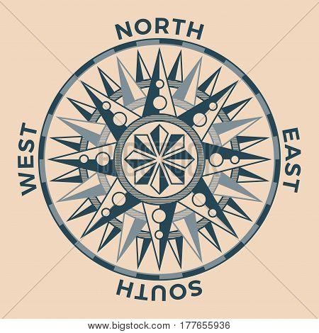Vintage old antique wind rose nautical compass sign label emblem element. Vector illustration.