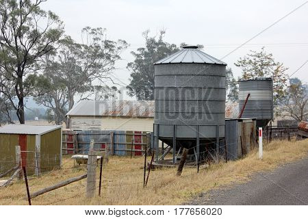 Vintage Grain Silo on a misty morning 2