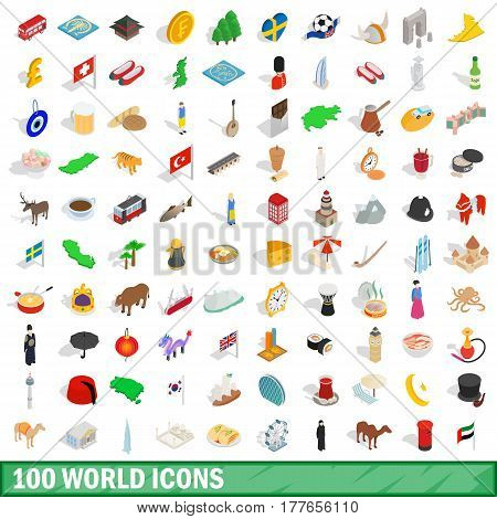 100 world icons set in isometric 3d style for any design vector illustration