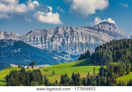 Idyllic Landscape In The Swiss Alps With Säntis Summit, Appenzellerland, Switzerland
