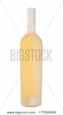 front view of white wine in acid etched bottle without label and white cap enclosure isolated