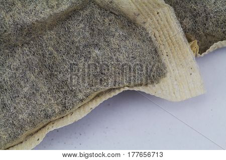 Detailed view of two teabags up close