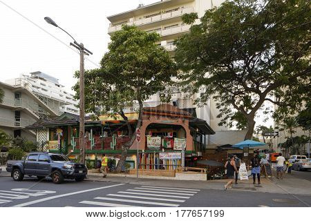 WAIKIKI USA - FEBRUARY 17 2017: Stock photo of the Mexican Bar and Grill Waikiki Beach Honolulu Hawaii