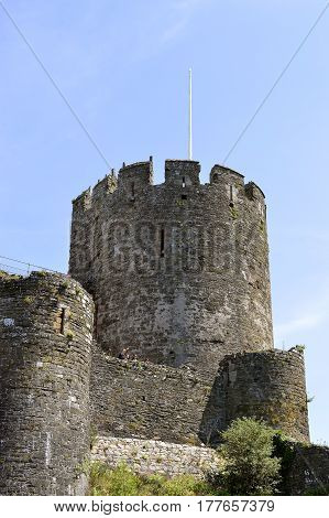 Conwy Wales United Kingdom - June 22 2014 : Historical Conwy Castle in North Wales