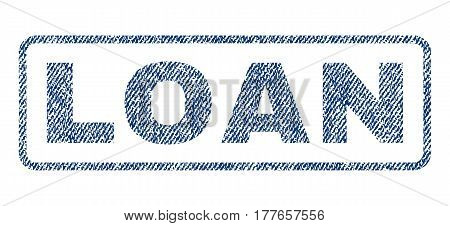 Loan text textile seal stamp watermark. Blue jeans fabric vectorized texture. Vector tag inside rounded rectangular banner. Rubber emblem with fiber textile structure.