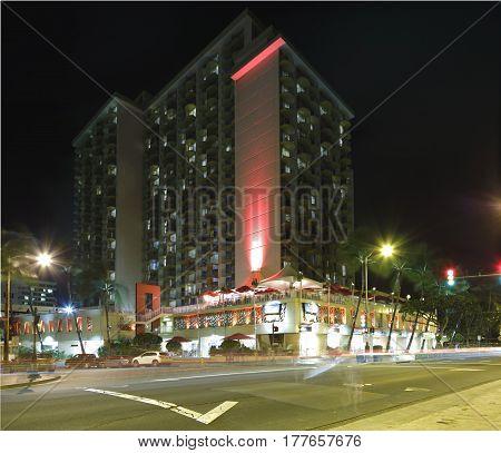 Long exposure night image of the Aston Waikiki Beach resort