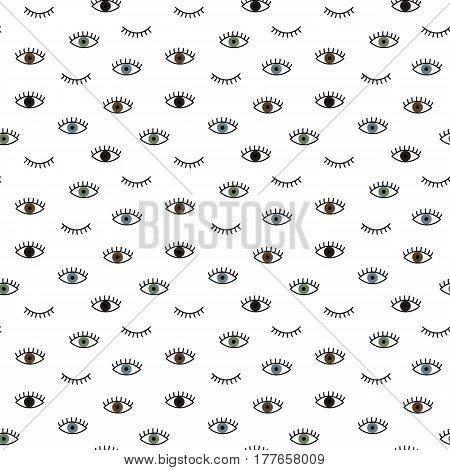 Seamless pattern in the style of psychedelic eyes blue brown green black. Pattern for fashion with eyes. The template for the cover fabric, books. Modern design for the fabric.