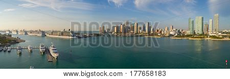 MIAMI USA - MARCH 14 2017: Aerial panoramic image of Port Miami with view of Downtown in the background