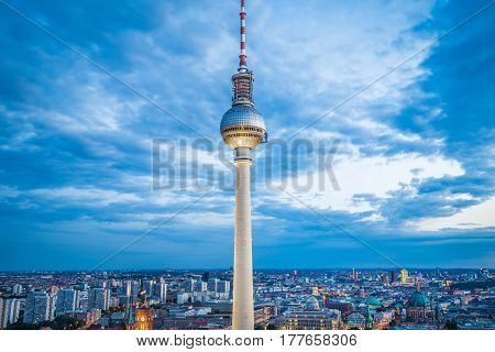 Berlin Tv Tower In Twilight At Dusk, Germany