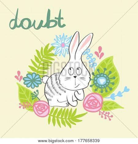vector illustration of a cartoon bunny in doubt