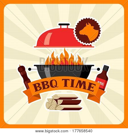 Bbq time card with grill objects and icons.