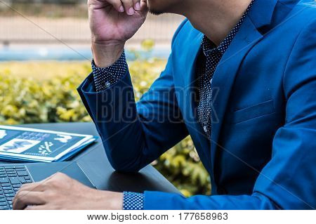 Business Successful Concept : Executive Business Man Wear Male Formal Suit Serious Thinking