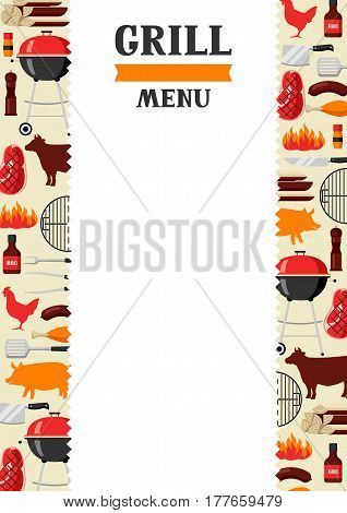 Bbq menu background with grill objects and icons.
