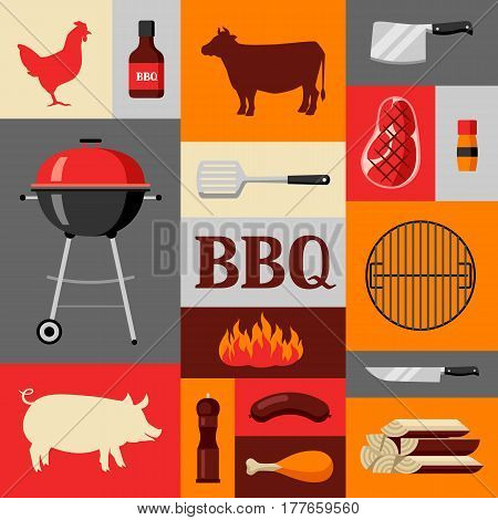 Bbq background with grill objects and icons.