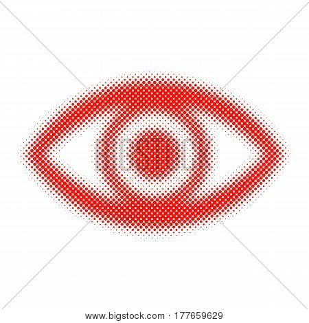 Abstract eye icon in halftone design. Vector illustration. Red dots human eye