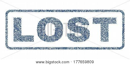 Lost text textile seal stamp watermark. Blue jeans fabric vectorized texture. Vector caption inside rounded rectangular shape. Rubber emblem with fiber textile structure.