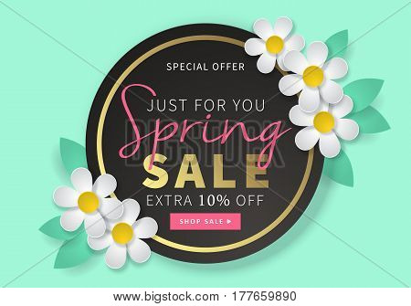 Spring Sale Round Black Banner Template For Social Media And Mobile Apps With Paper Daisy Flowers On