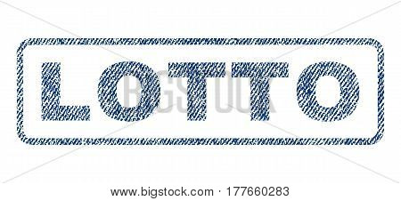 Lotto text textile seal stamp watermark. Blue jeans fabric vectorized texture. Vector caption inside rounded rectangular shape. Rubber sticker with fiber textile structure.