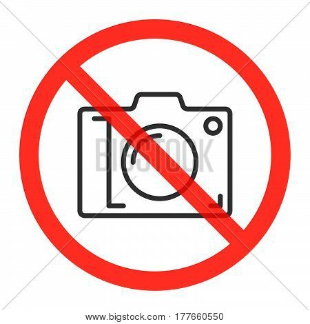 Camera line icon in prohibiting red circle No photos ban sign Forbidden to take pictures symbol. Vector illustration