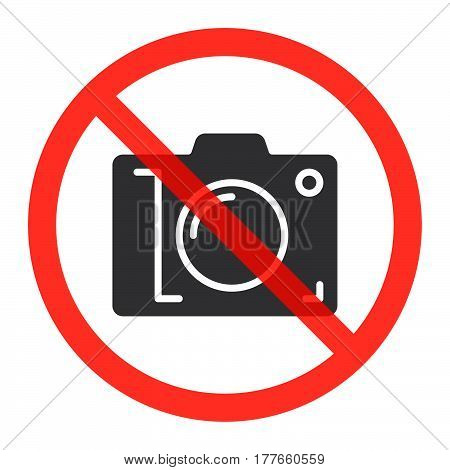 Camera icon in prohibiting red circle No photos ban sign Forbidden to take pictures symbol. Vector illustration