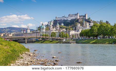 Classic View Of Salzburg In Summer, Salzburger Land, Austria