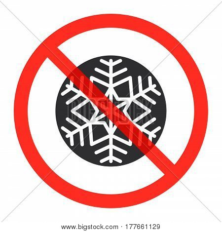 Snowflake icon in prohibition red circle Do not freeze ban sign forbidden symbol. Vector illustration isolated on white