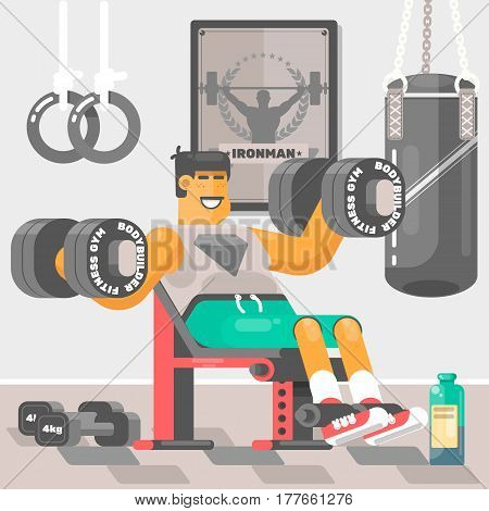 Strong bodybuilder sportsman Weightlifter doing bicep workout  training arms with dumbbell Vector illustration