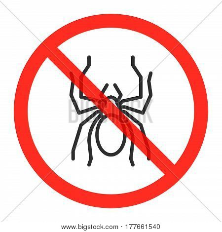 No spiders ban sign line icon in prohibition red circle forbidden symbol. Vector illustration isolated on white