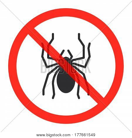 No spiders ban sign icon in prohibition red circle forbidden symbol. Vector illustration isolated on white