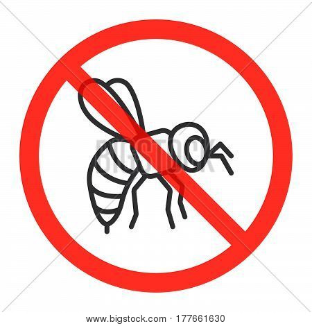 Bumblebee line icon in prohibition red circle No honey bees ban sign forbidden symbol. Vector illustration isolated on white