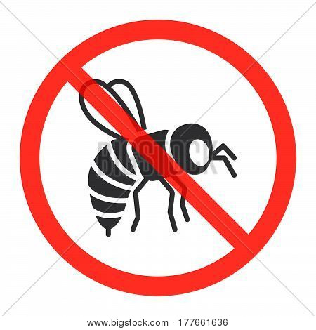 Bumblebee icon in prohibition red circle No honey bees ban sign forbidden symbol. Vector illustration isolated on white