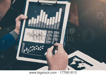 Business Statistics Success Concept : Businessman Analytics Financial Accounting Market Chart