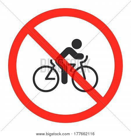Cyclist icon in prohibition red circle Cycling ban or stop sign forbidden symbol. Riding bike or bicycle is not allowed image. Vector illustration isolated on white