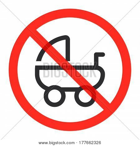 Stroller pram line icon in prohibition red circle No baby carriage ban or stop sign forbidden symbol. Vector illustration isolated on white