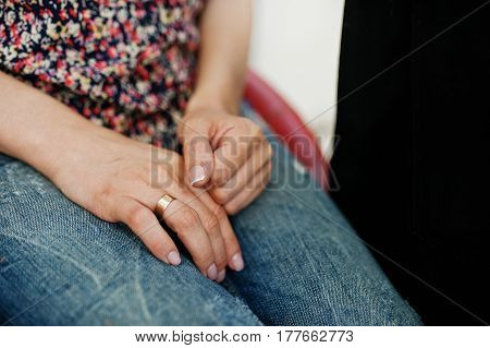 Hand Of Girl Sitting On Chair At Beauty Salon.