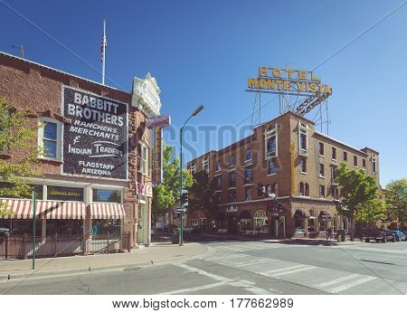 Beautiful view of the historic city center of Flagstaff with famous Hotel Monte Vista on sunny day with blue sky in summer northern Arizona American Southwest USA