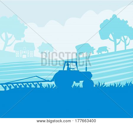 Rural landscape - tractor and cows , vector illustration