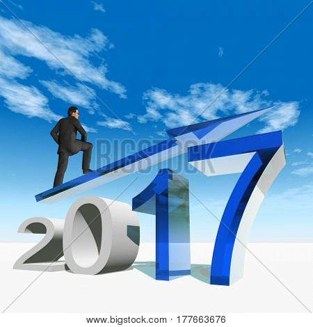 Conceptual 3D illustration human, man or businessman standing over an blue 2017 year symbol with an arrow on sky white background