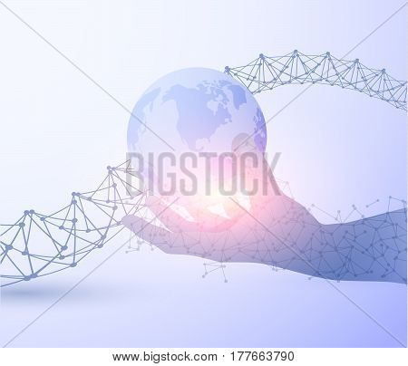 Shiny blue technology vector background with hand holding earth and technology sprial. EPS10