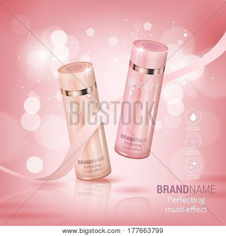 Elegant Cosmetic Bottles Realistic Vector Illustration Isolated On Pink Bokeh Background. Cosmetic A