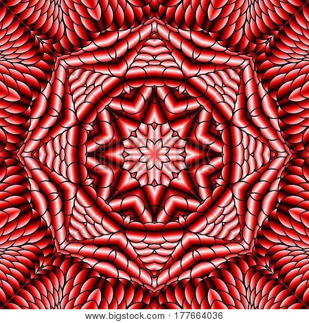 Kaleidoscopic red seamless pattern is computer graphics and it can be used in the design of textiles in the printing industry in a variety of design projects.