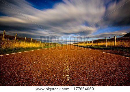 A road in Torridon, Scotland taken by moonlight