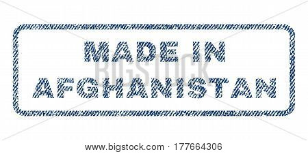 Made In Afghanistan text textile seal stamp watermark. Blue jeans fabric vectorized texture. Vector caption inside rounded rectangular shape. Rubber sticker with fiber textile structure.