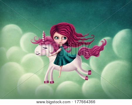 Illustration of a little girl with unicorn