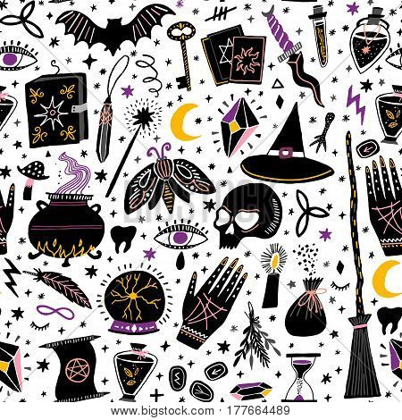 Vector magic witch seamless pattern. Witchcraft background