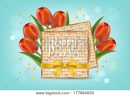 Jewish Holiday Passover Banner Design With Matzo And Tulip Flowers. Realistic Vector Illustration