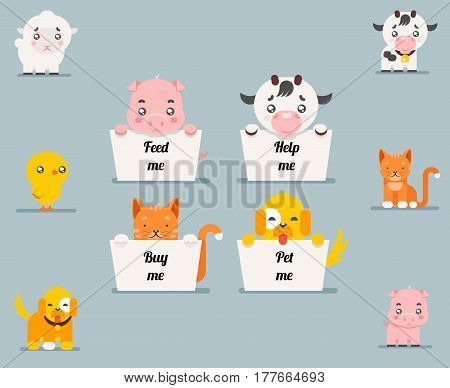 Cute little beggar animals help dog cat pig cow lamb chicken cartoon flat design characters set vector illustration