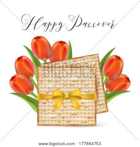 Jewish Holiday Passover Banner Design With Matzo And Tulip Flowers Isolated On White Background. Rea