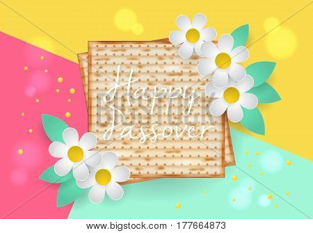 Jewish Holiday Passover Modern Banner Design With Matzo And Paper Art Flowers. Realistic Vector Illu
