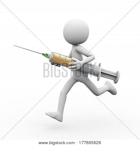 3d rendering of man holding and running with syringe. White person people illustration